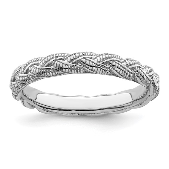 Sterling Silver Stackable Braided Twist Ring
