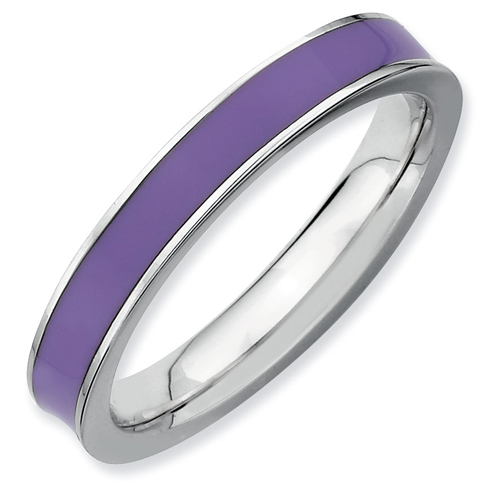 Sterling Silver 3.25mm Stackable Expressions Purple Enameled Ring