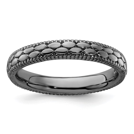 Sterling Silver Stackable 3.5mm Ruthenium Plated Pebble Pattern Ring