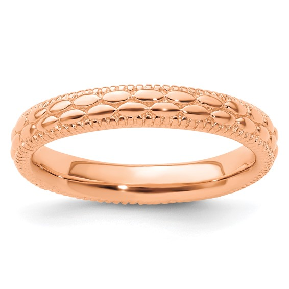 Sterling Silver Stackable 3.5mm Rose Gold-Plated Pebble Pattern Ring