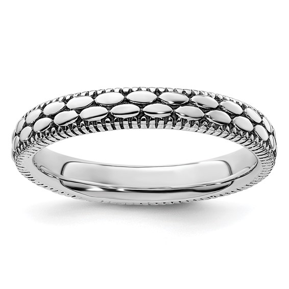 Sterling Silver Stackable 3.5mm Antiqued Pebble Pattern Ring