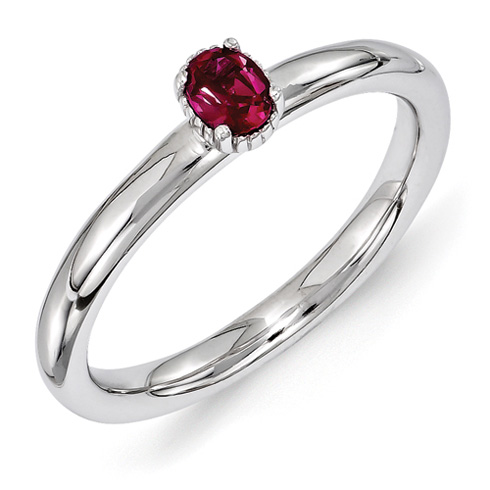 Sterling Silver Oval Created Ruby Single Stone Ring