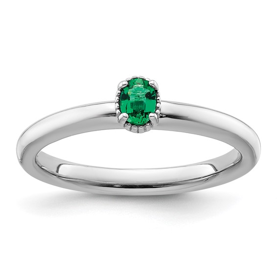 Sterling Silver Oval Created Emerald Single Stone Ring