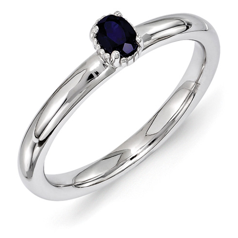 Sterling Silver Oval Created Sapphire Single Stone Ring