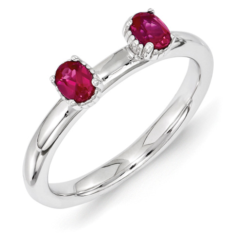 Sterling Silver Oval Created Ruby Two Stone Ring
