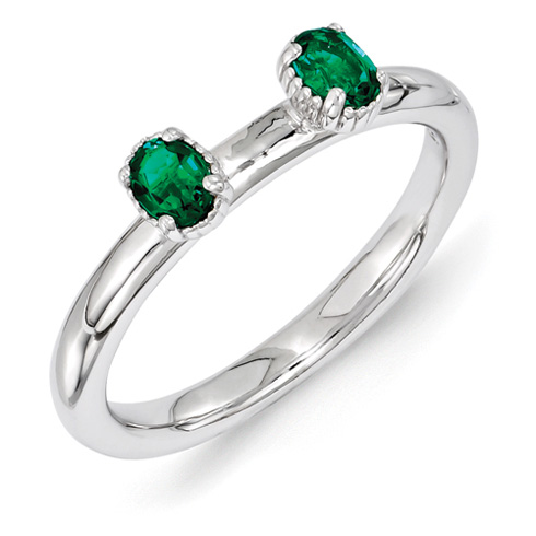 Sterling Silver Oval Created Emerald Two Stone Ring