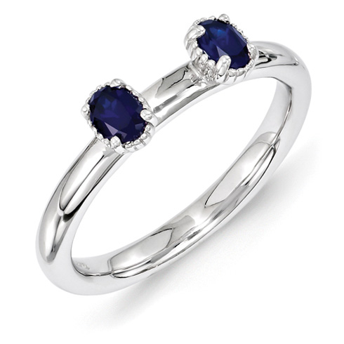 Sterling Silver Oval Created Sapphire Two Stone Ring
