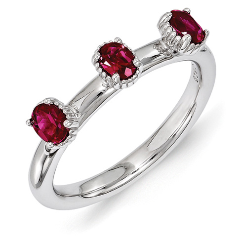 Sterling Silver Oval Created Ruby Three Stone Ring
