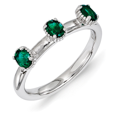 Sterling Silver Oval Created Emerald Three Stone Ring