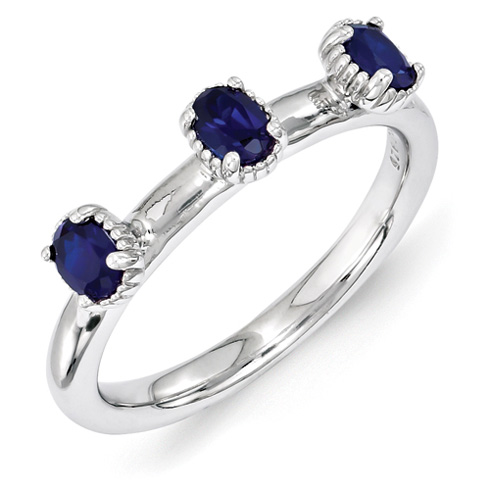 Sterling Silver Oval Created Sapphire Three Stone Ring