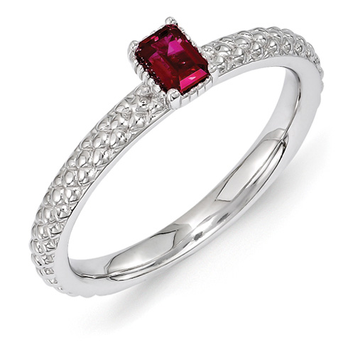 Sterling Silver Created Ruby Single Stone Ring with Beaded Finish