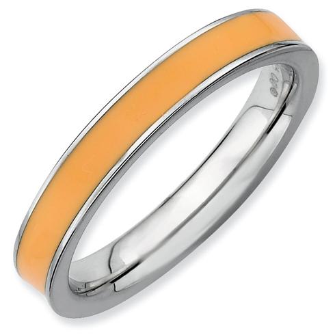 Sterling Silver Stackable Expressions Orange Enameled 3.25mm Ring
