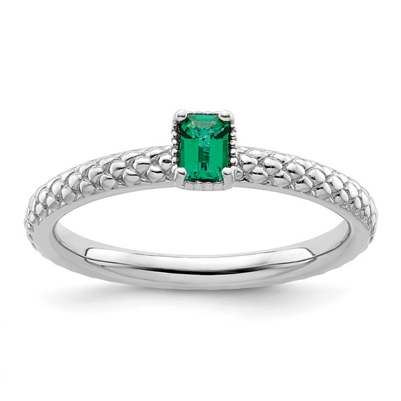 Sterling Silver Created Emerald Ring with Beaded Finish