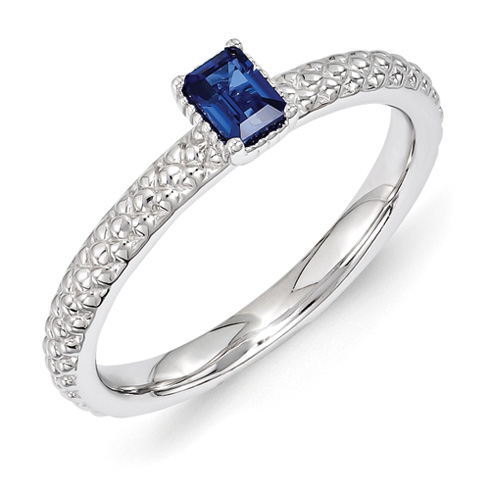 Sterling Silver 1/4 ct Created Sapphire Ring with Beaded Finish