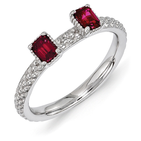 Sterling Silver Oval Created Ruby Two Stone Ring Beaded Finish