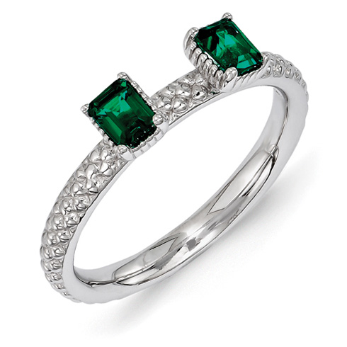 Sterling Silver Created Emerald Two Stone Ring with Beaded Finish