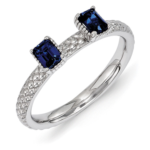 Sterling Silver Created Sapphire Two Stone Ring with Beaded Finish