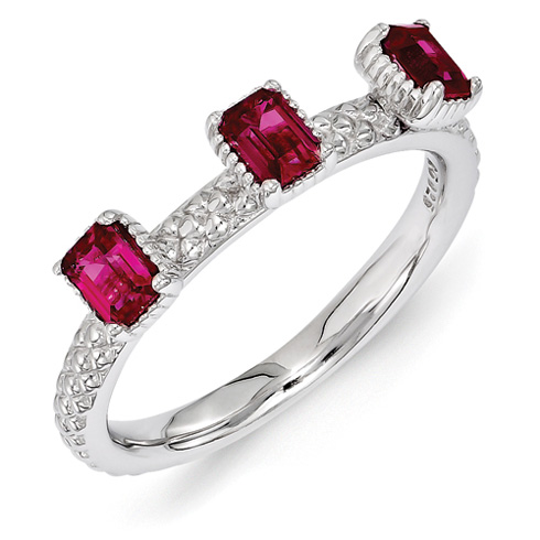 Sterling Silver Created Ruby Three Stone Ring with Beaded Finish