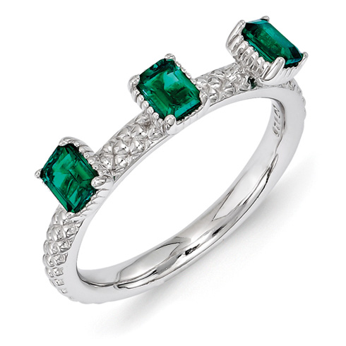Sterling Silver Created Emerald Three Stone Ring with Beaded Finish