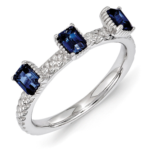 Sterling Silver Created Sapphire Three Stone Ring with Beaded Finish
