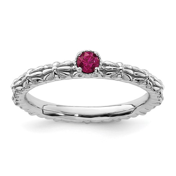 Sterling Silver Created Ruby Single Stone Ring