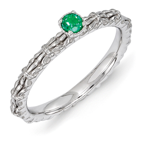 Sterling Silver Created Emerald Single Stone Ring