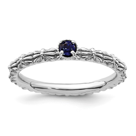 Sterling Silver Created Sapphire Single Stone Ring