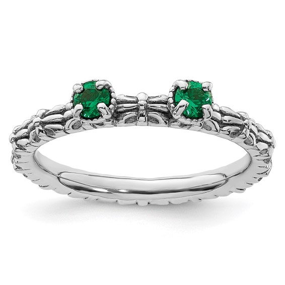 Sterling Silver Created Emerald Two Stone Ring