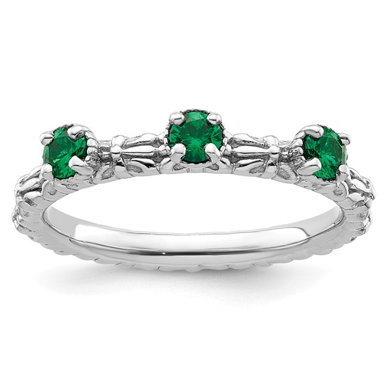 Sterling Silver Created Emerald Three Stone Ring
