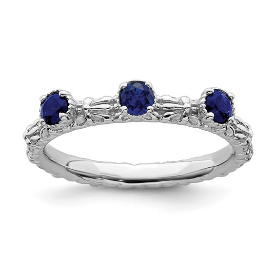 Sterling Silver Created Sapphire Three Stone Ring