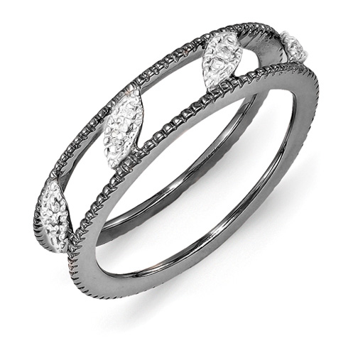 Ruthenium Plated Sterling Silver Diamond Ring Jacket