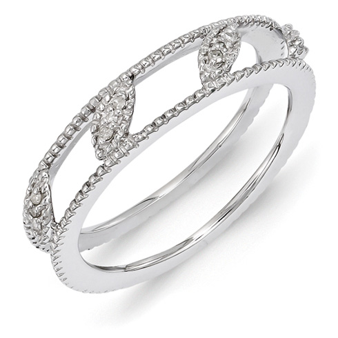 Sterling Silver Diamond Stackable Ring Jacket