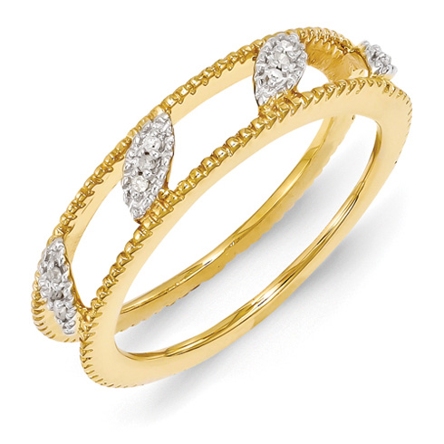 18kt Gold Plated Sterling Silver Stackable Diamond Ring Jacket