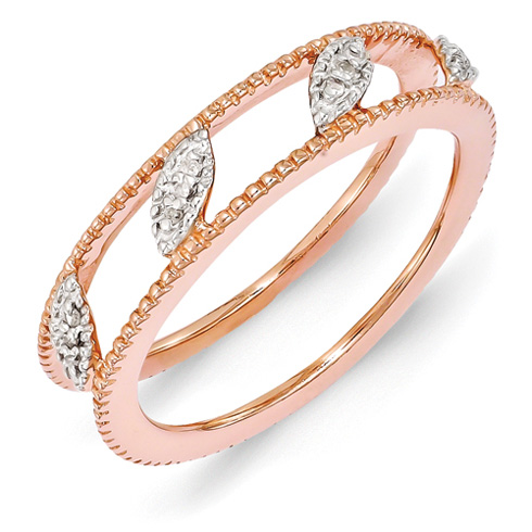 18kt Rose Gold Plated Sterling Silver Diamond Ring Jacket