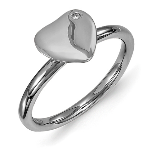 Ruthenium Plated Sterling Silver Heart Ring with Diamond Accent