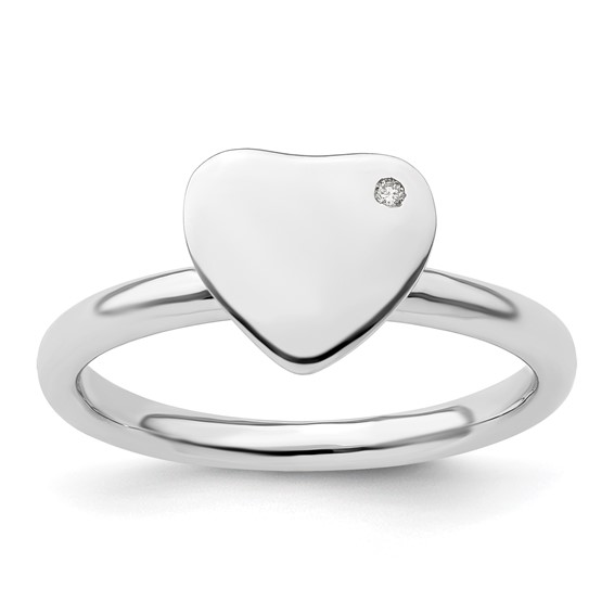 Sterling Silver Heart Ring with Diamond Accent
