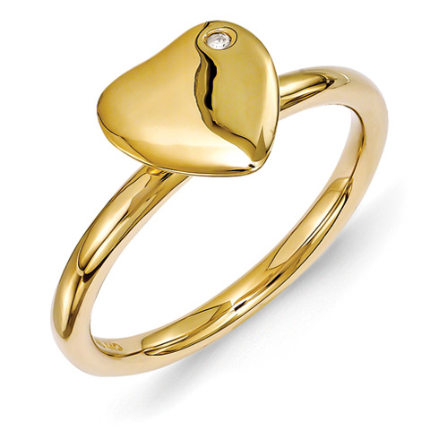 18kt Gold Plated Sterling Silver Heart Ring with Diamond Accent