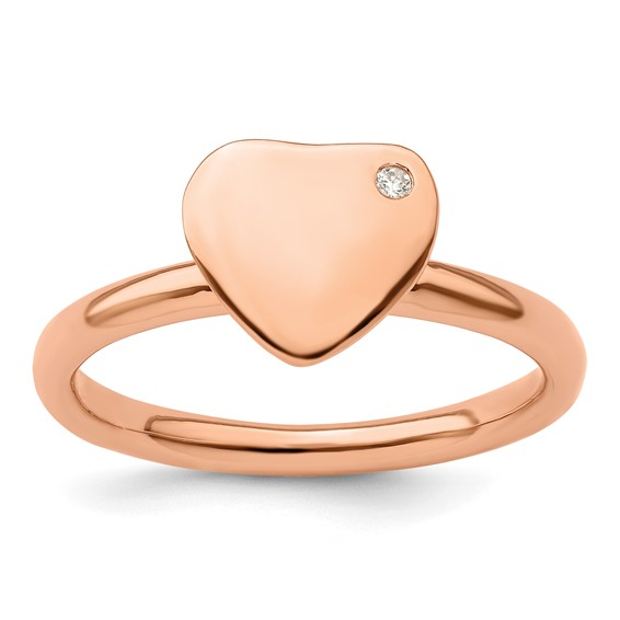 18kt Rose Gold Plated Sterling Silver Heart Ring with Diamond Accent
