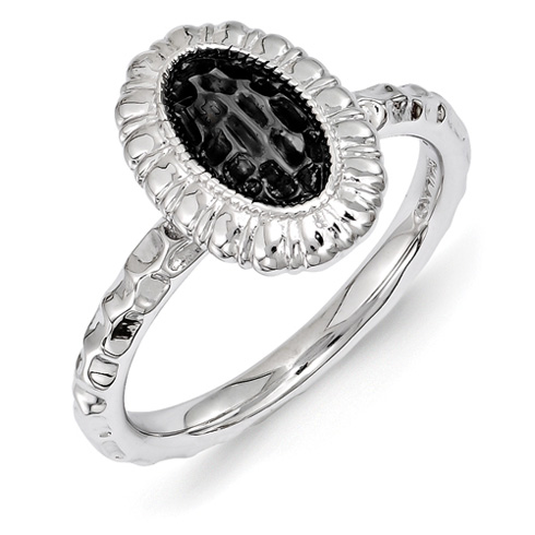 Ruthenium Sterling Silver Stackable Oval Ring