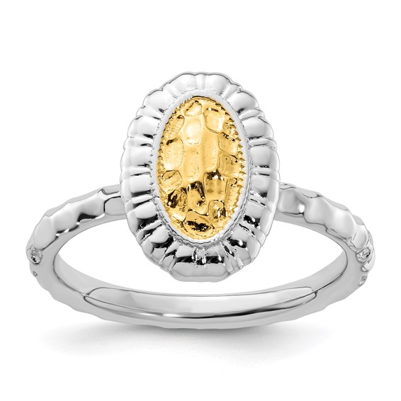 18kt Gold Plated Sterling Silver Stackable Oval Ring
