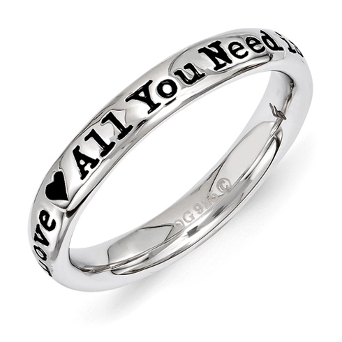 Sterling Silver Stackable All You Need is Love Ring