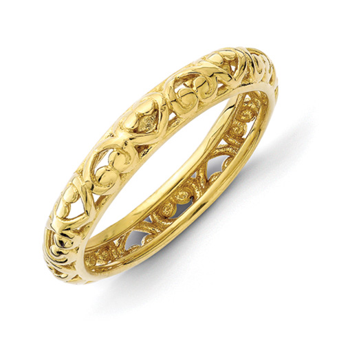 Gold-plated Sterling Silver Stackable Scroll Hearts Ring