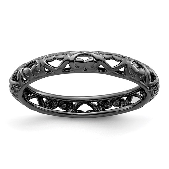 Sterling Silver Stackable Black-plated Scroll Hearts Ring