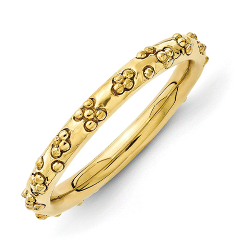 Sterling Silver Stackable Gold-plated Textured Flowers Ring
