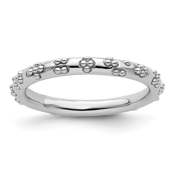 Sterling Silver Stackable Rhodium Textured Flowers Ring