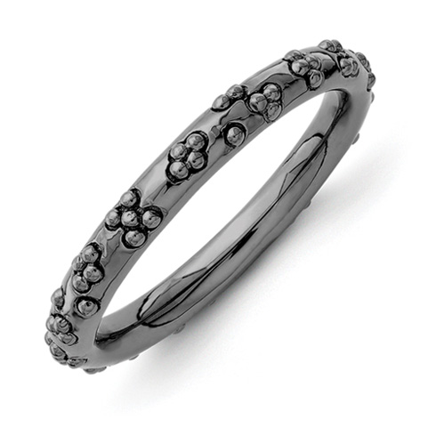 Sterling Silver Stackable Black-plated Textured Flowers Ring