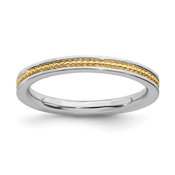 Sterling Silver Stackable Gold-plated Channeled Ring