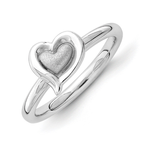 Sterling Silver Stackable Rhodium Heart Ring