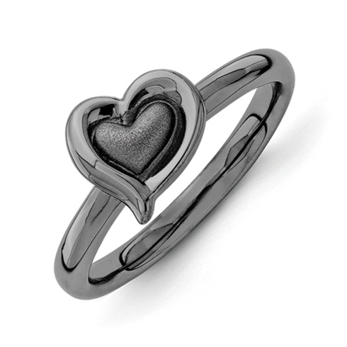 Sterling Silver Stackable Black-plated Heart Ring