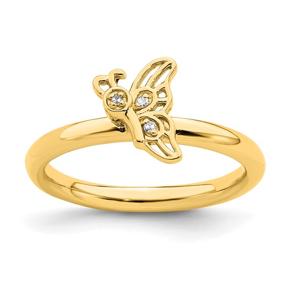 Sterling Silver Stackable Gold-plated Butterfly Diamond Ring